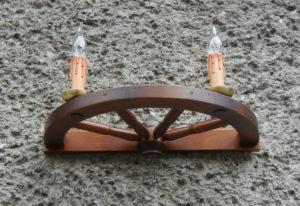 Kinkiet 2pkt ze świeczkami z koła wozu 50cm