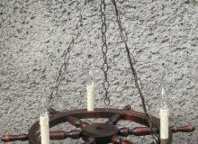Lampa 3pkt ześwieczkami napodstawie koła sterowego 68cm